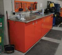 large Shure work space with cabinetry
