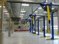 auto shop with Harvey exhaust extraction system