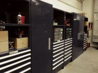 Large shelving unit by Shure