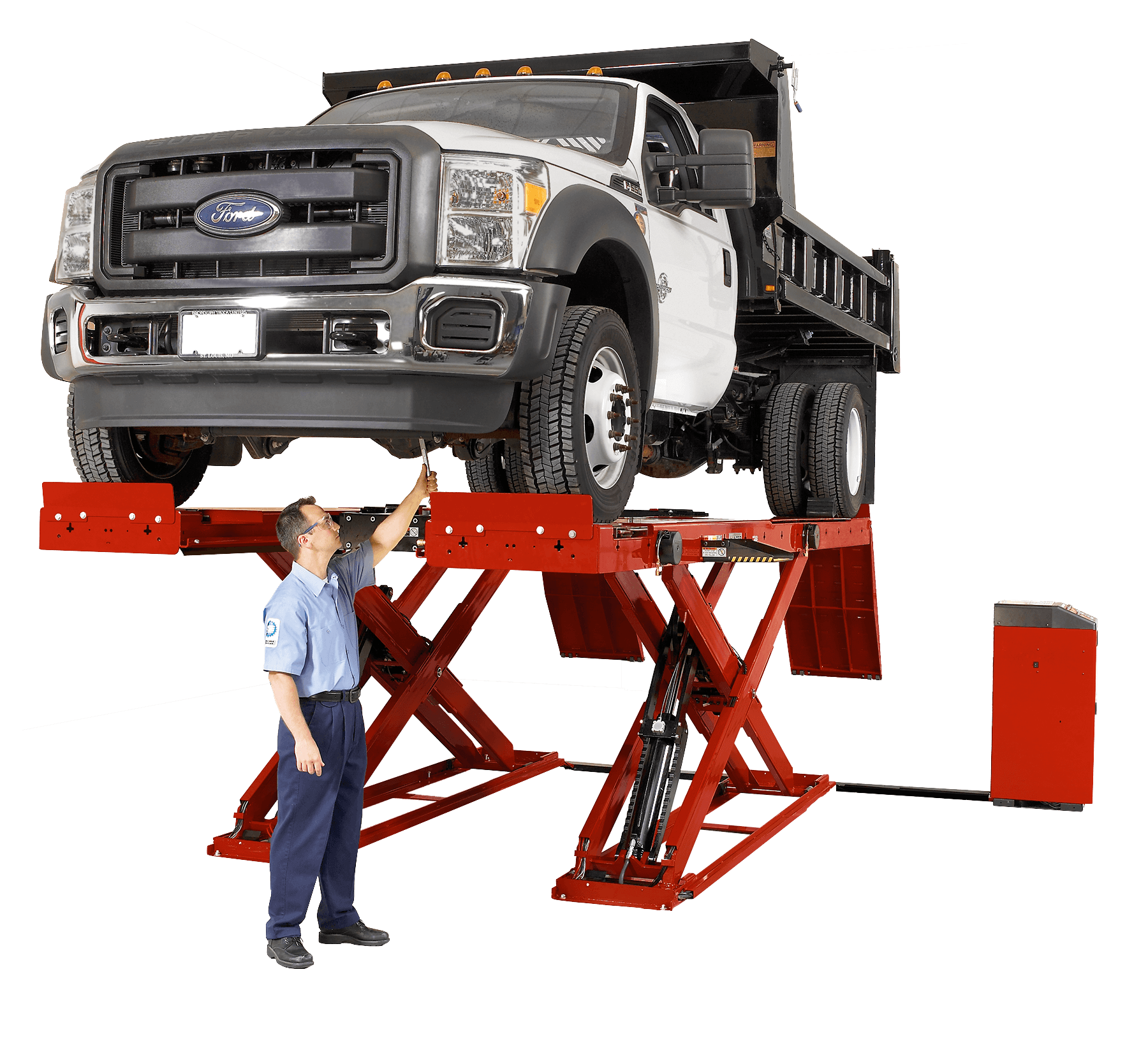 Scissor lift used to inspect under heavy-duty vehicle